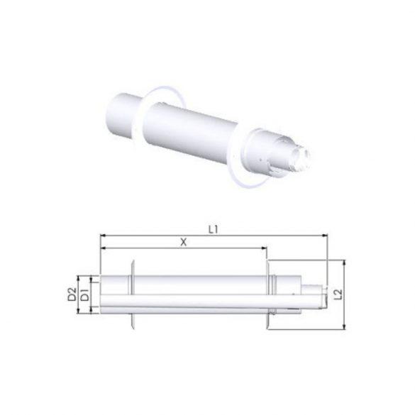 TRICOX PAPA50 koncentrikus vízszintes parapet PPs/alu 60/100mm