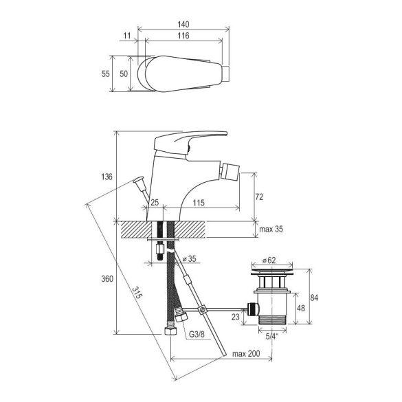 RAVAK Neo NO 055.00 bidé csaptelep, leeresztőszeleppel - méretek