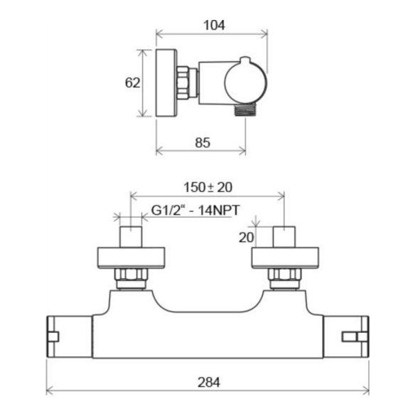 RAVAK Termo TE 032.00/150 termosztatikus zuhany csaptelep méretek