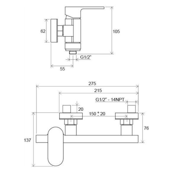 RAVAK Chrome CR 032.00/150 fali zuhany csaptelep, zuhanyszett nélkül - méretek