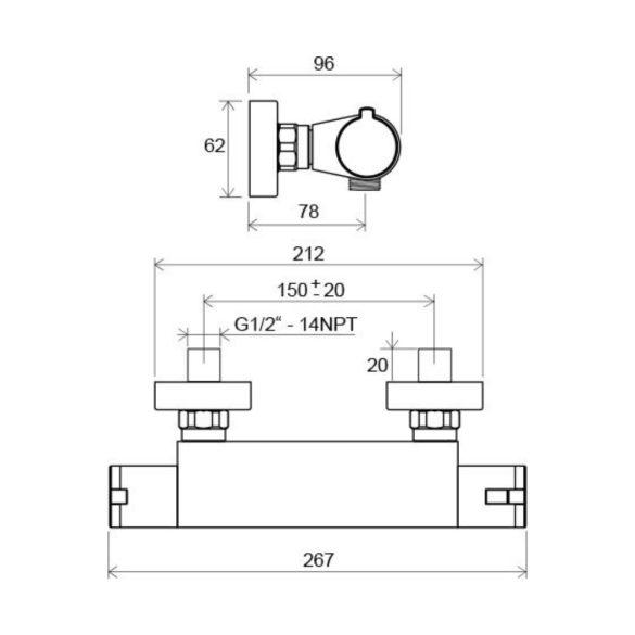 RAVAK Termo TE 072.00/150 termosztatikus zuhany csaptelep méretek