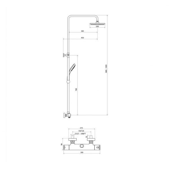 RAVAK Termo TE 091.00 zuhanyoszlop termosztatikus csapteleppel - méretek
