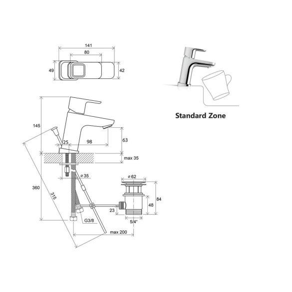 RAVAK 10° TD 012.00 egykaros mosdó csaptelep méretek - 140mm-es, leeresztőszelepes kivitel