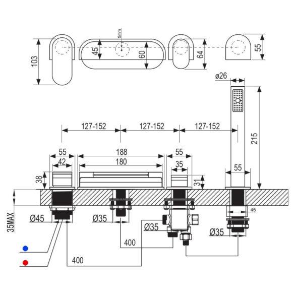 RAVAK Chrome CR 025.00 kádperemre szerelhető kádtöltő csaptelep méretek