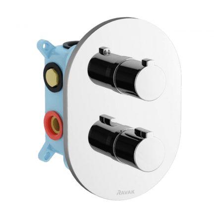 RAVAK Chrome CR 067.00 falsík alatti 3 utas termosztátos csaptelep R-Box Multihoz