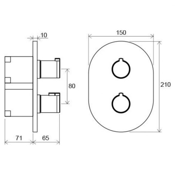 RAVAK Chrome CR 067.00 falba süllyesztett termosztosztatikus csaptelep méretek