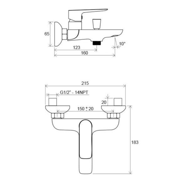 RAVAK Classic CL 022.00/150 egykaros fali kád csaptelep méretek