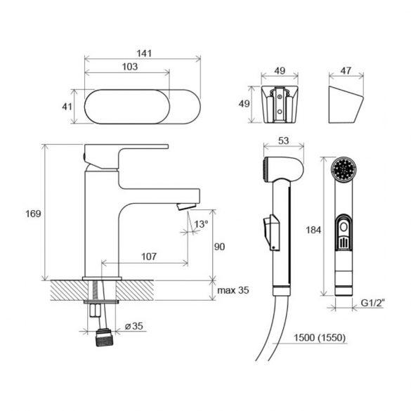 RAVAK Chrome CR 112.00 egykaros mosdó csaptelep méretek - bidézuhannyal ellátott kivitel