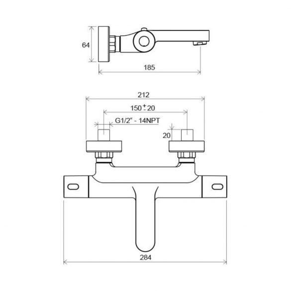 RAVAK Termo TE 023.00/150 termosztatikus kád csaptelep méretek