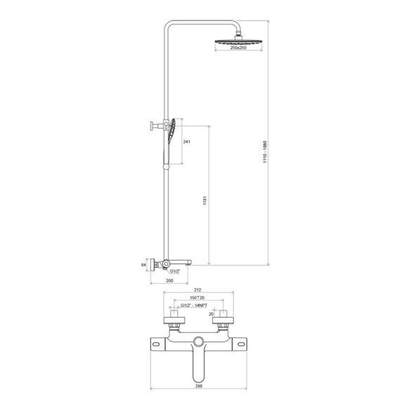 RAVAK Termo TE 092.00/150 zuhanyoszlop termosztatikus kád csapteleppel - méretek