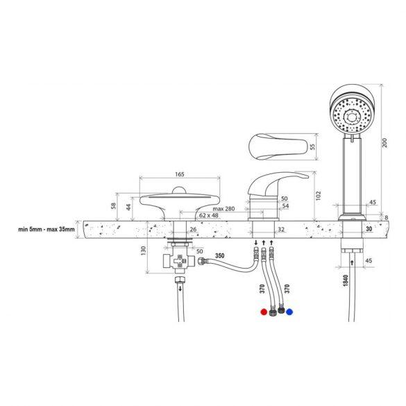 RAVAK Rosa RS 025.00 kádperemre szerelhető kádtöltő csaptelep méretek