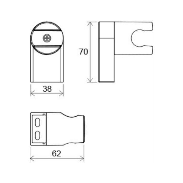 RAVAK Chrome CR 611.00 állítható fali zuhanytartó méretek