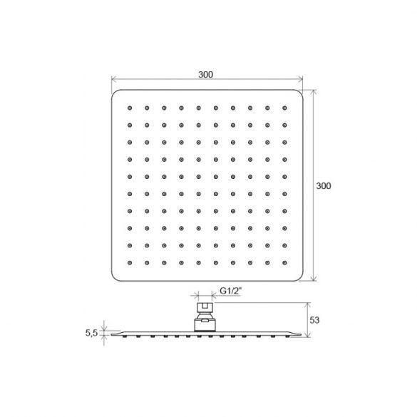RAVAK Chrome Slim 982.00 négyzet alakú esőztető zuhanyfej méretek